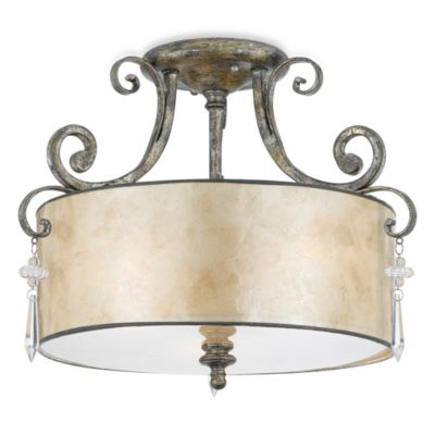 Kendra 3-Light Semi-Flush Mount Ceiling Lighting Fixture with Silver Finish and Oyster Mica Shade