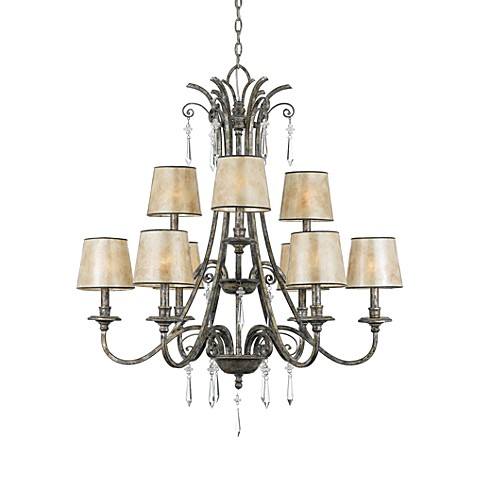 Kendra Collection 9-Light Chandelier with Mica Shades