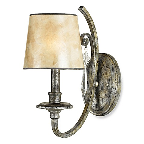 Quoizel Kendra 1-Light Wall Sconce in Mottled Silver with Mica Shade