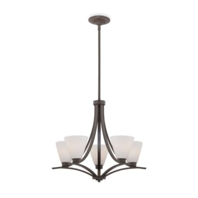 Quoizel® Kara Collection 5-Light Chandelier with Opal Etched Glass Shades