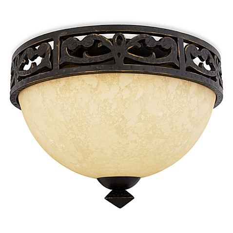 Quoizel®  La Parra 2-Light Flush Mount w/Hand-Forged Scrollwork & Hand-Crafted Shade
