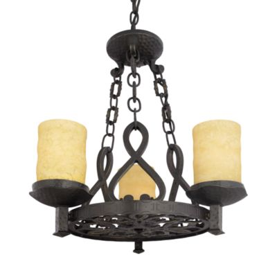 Quoizel® La Parra Chandelier With Candello Scavo Glass and Handforged Iron Hardware