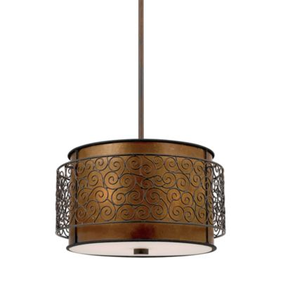 Renaissance Copper-Finished 3-Light Pendant with Drum-Shaped Amber Mica Shade