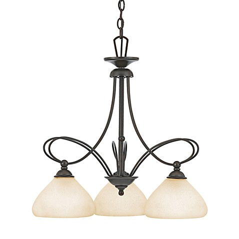 Denmark Teco Marrone 3-Light Chandelier with Frosted Cirrus Glass Shades