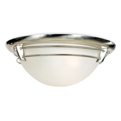 Quoizel® 3-Light Brushed Nickel Flush Mount New England Ceiling Light with Acid Etched Glass
