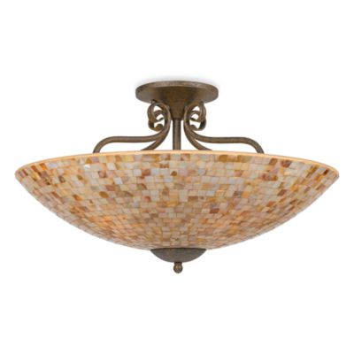 Monterey 5-Light Ceiling Fixture in Malaga Finish with a Pen Shell Mosaic Shade