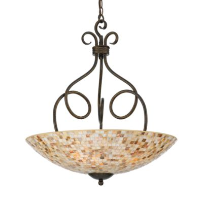Quoizel® 4-Light Genuine Shell Pendant From the Monterey Mosaics Collection
