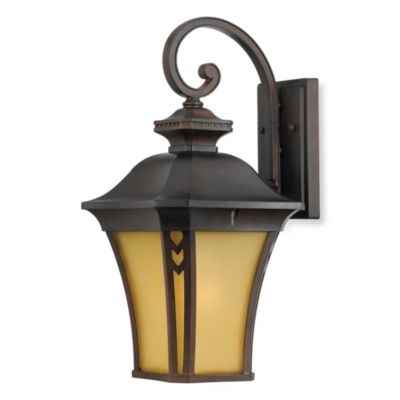 Quoizel® Norfolk 1-Light Outdoor Light Fixture with Terra-Bronze Finish and Amber Glass Panels