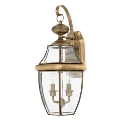 Newbury Antique Brass Two Light Outdoor Fixture