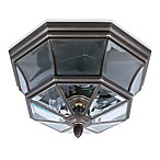 Quoizel® Newbury 3-Light Outdoor Flush-Mount Lamp with Medici Bronze Finish and Beveled Glass
