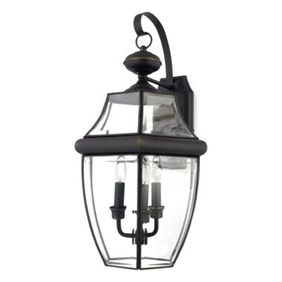 Newbury Outdoor Beveled Glass 3-Light Fixture in Medici Bronze
