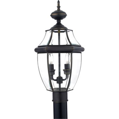 Quoizel® Newbury Outdoor Post Lantern in Medici Bronze
