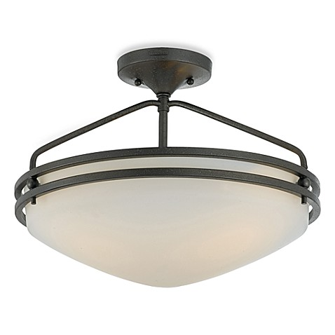 Ozark 3-Light Semi-Flush Mount with an Iron Gate Finish and Opal Etched-Glass Shade