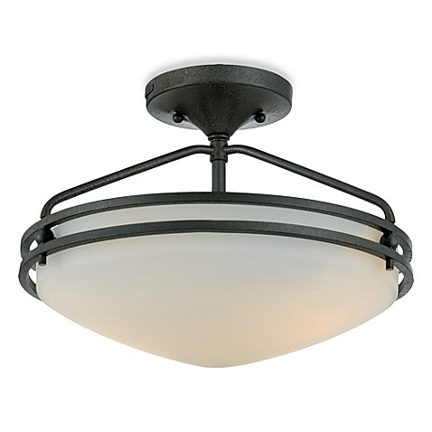Ozark 2-Light Semi Flush with Iron Gate Finish and Opal Etched Glass