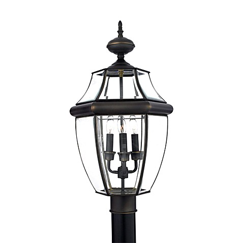 Newbury Outdoor Post Light in Medici Bronze and Clear Glass