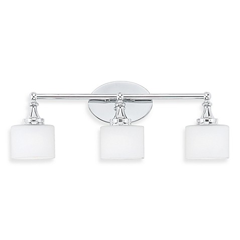 Quoizel® Quinton 3-Light Bath Fixture with Opal Etched Glass in Polished Chrome