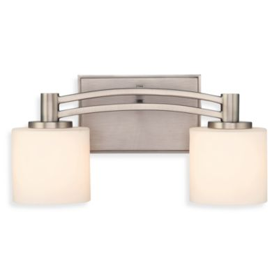 Perry 2-Light Bath Fixture with Antique Nickel Finish and Opal Etched Glass by Quoizel®