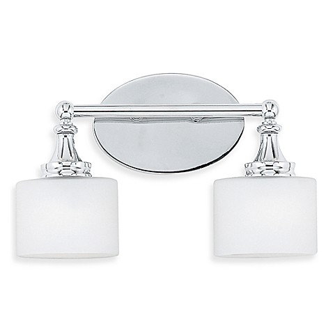 Quoizel® Quinton 2-Light Bath Fixture with Opal Etched Glass in Polished Chrome