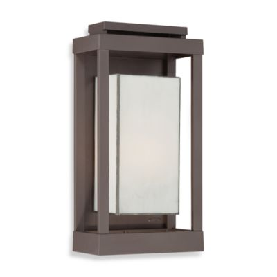Powell® Outdoor 1-Light Fixture with Western Bronze Finish and White Glass Shadowbox