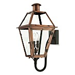 Quoize® l Rue De Royal 2-Light Outdoor Bottom-Mount Lamp w/Aged Copper Finish and Clear Glass