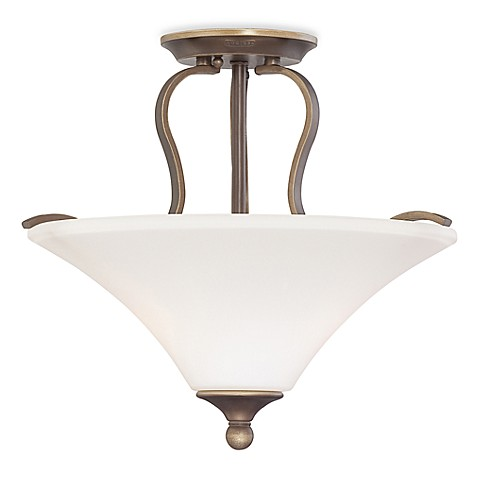 Semi-Flush Mount Sophia 2-Light Ceiling Fixture with Palladian Bronze Finish and Opal Etched Glass