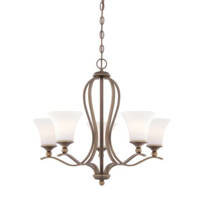 Quoizel Sophia Collection 5-Light Chandelier with Palladian Bronze and Opal-Etched Fluted Shades
