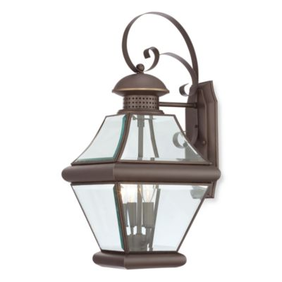 Imported Rutledge 60 Watt 2-Light Wall Lantern in Medici Bronze