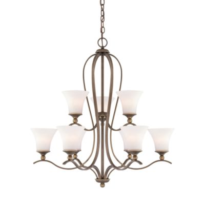 Quoizel® Sophia 9-Light Chandelier in Palladian Bronze with Opal Etched Glass