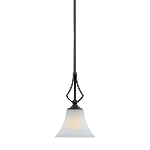 Quoizel®  Sarah 1-Light Mini Bell Pendant with Opal Etched Glass and Iron Gate Finish