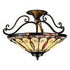 Tiffany 100 Watt 3-Light Semi-Flush Mount in Imperial Bronze