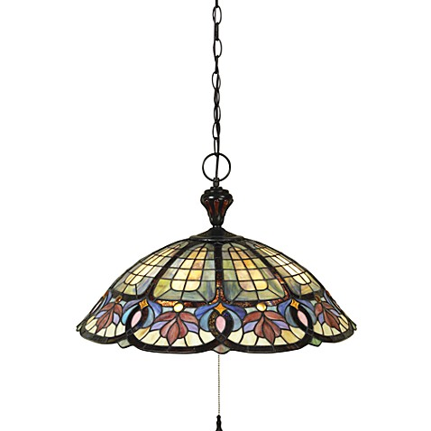 Quoizel Hyacinth 3-Light Dome Pendant in Vintage Bronze/Tiffany Glass