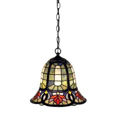 Quoizel® Piccolo Tiffany-Style Mini Pendant Bell on Vintage Bronze Chain