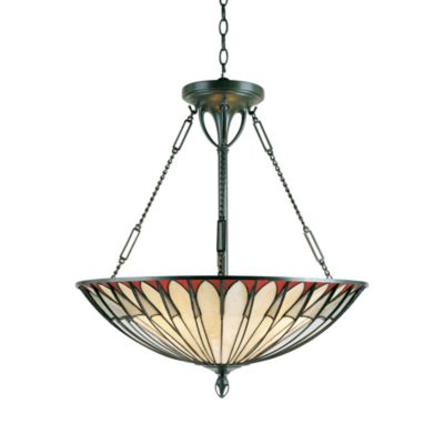 Quoizel 4-Light Vintage Bronze Tiffany-Style Pendant