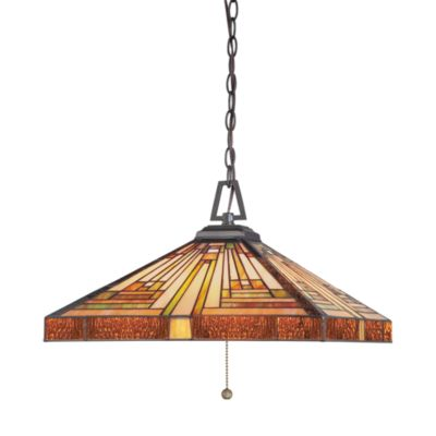 Quoizel 3-Light Tiffany-Style Pendant with Vintage Bronze Finish From the Stephen Collection