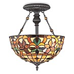 Quoizel® Kami 2-Light Semi-Flush Mount Floral Tiffany Glass Ceiling Lamp with Bronze Finish