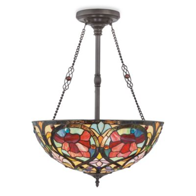 Hanging Bowl Pendant Lamp With Classic Tiffany Style