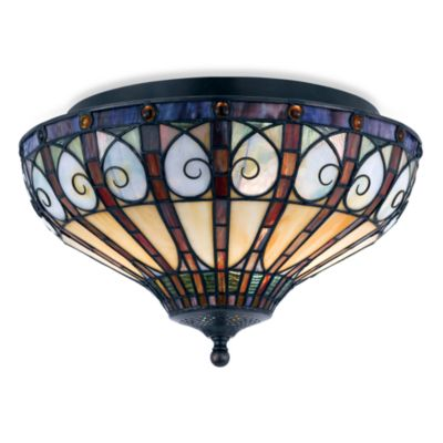 Quoizel® Tiffany Style 2-Light Stained Glass Flush Mount Fixture