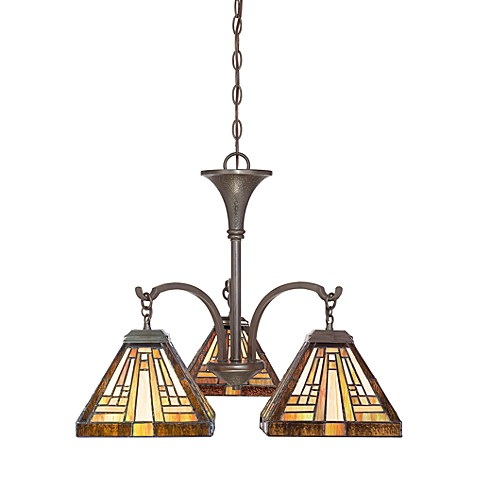 Vintage Bronze and Tiffany Glass Dinette Chandelier