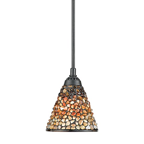 Mini-Pendant Fixture with Vintage Bronze Finish and Fossil Stone Shade