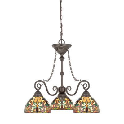 Quoizel Kami 3-Light Tiffany-inspired Chandelier with Vintage Bronze Finish