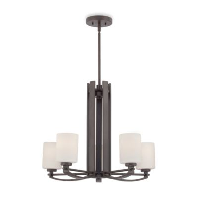 Taylor® Five Light Chandelier with Opal Etched Glass and Western Bronze Finish