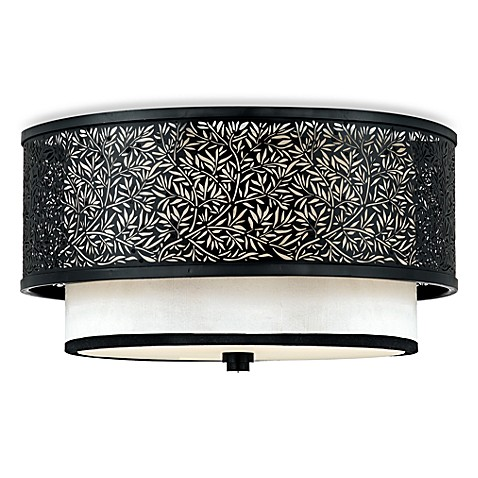 Quoizel Mystic Black 2-Light Flush Mount with Cream Silk Shade