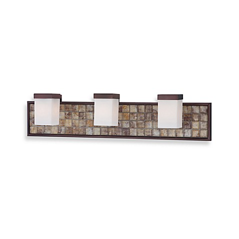Vetreo Bronze 3-Light Bathroom Fixture with Opal Etched Glass