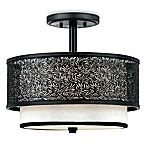 Quoizel®  Utopia Mystic Black Ceiling Light with Cream Silk Shade