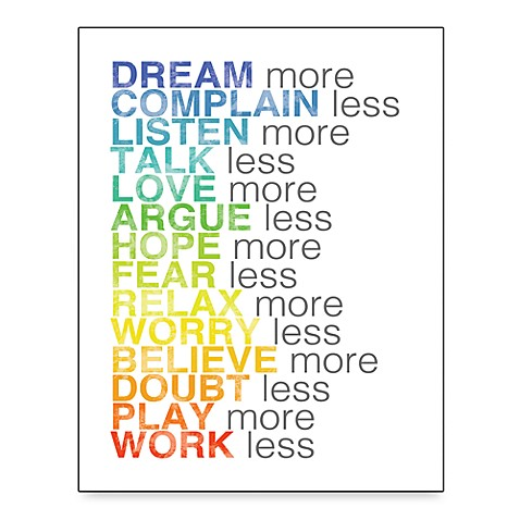 More and Less List Wall Art in White