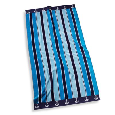 Ocean Stripe 36-Inch x 72-Inch 100% Cotton Beach Towel Blue