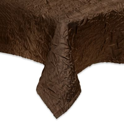 Eugenia Linens Luxury Essentials 96-Inch Round Crinkled Crepe Overlay in Chocolate (Set of 6)