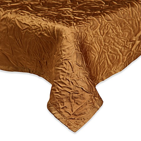 "Luxury Essentials Gold Crinkled Crepe 120"" Round Overlay (Set of 6)"