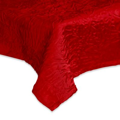 Eugenia Linens Luxury Essentials 132-Inch Round Crinkled Crepe Overlay in Burgundy (Set of 6)