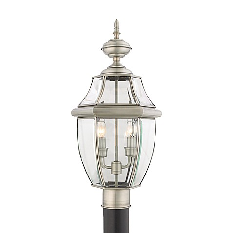 Quoizel®  Lighting 2-Light Newbury Outdoor Post-Mounted Lantern in Pewter